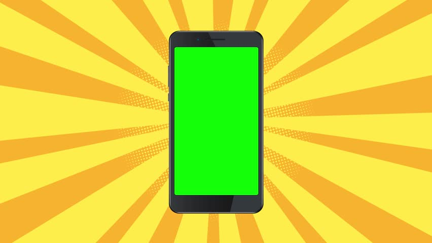 Smartphone template on yellow burst background. 4K Black phone on pop art background. Blank modern mobile screen footage. Presentation for mobile application in vintage style. Bright advertising | Shutterstock HD Video #1009563005