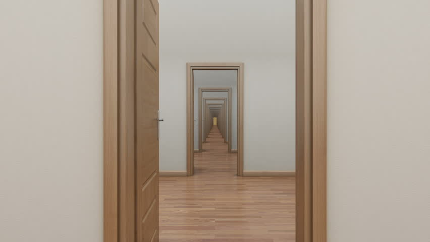 Enfilade opening the door to the outside. Alpha channel. - HD stock video & A Maze Of Corridors And Doors. 3D Animation. Stock Footage Video ... pezcame.com