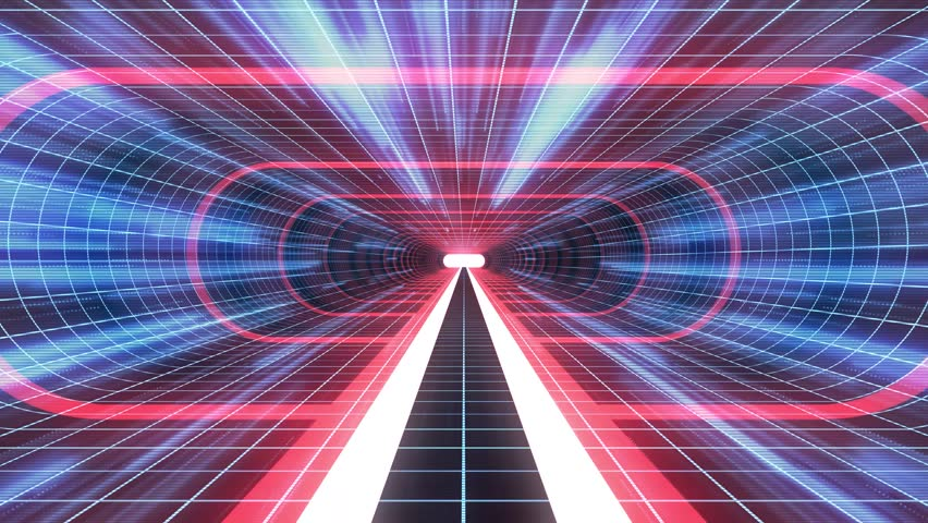 In out flight through VR RED neon BLUE grid BLUE lights cyber tunnel HUD interface motion graphics animation background new quality retro futuristic vintage style cool nice beautiful video foota
