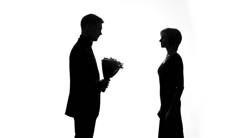 Offended woman throwing bouquet boyfriend, rejecting husband apologize, regret