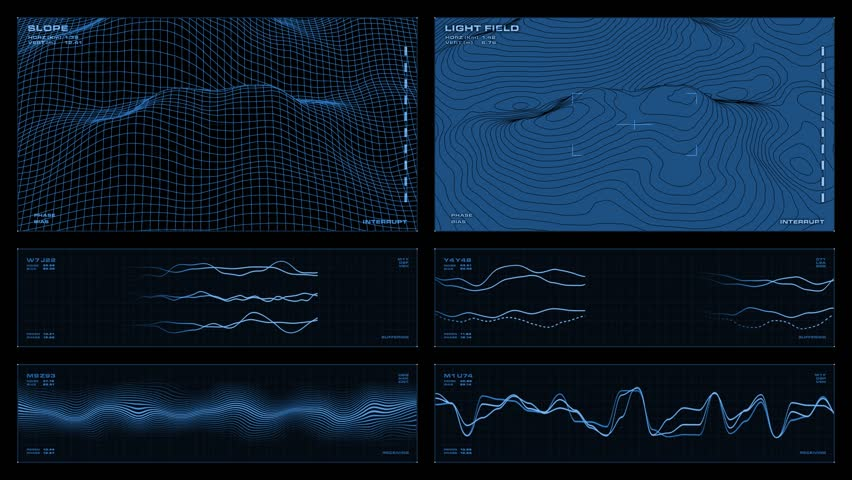 Monochromatic multi-panel visual display: elevation map, animated line graphs, waveforms, readouts, indicators. Clip loops and is reversible.