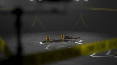 Body outline on the crime scene. Camera pans around it.
