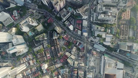 Kuala Lumpur ,December 2017 : 90 Degrees birds eye view of Kuala Lumpur City from above. Traffic at Jalan Ampang X Jalan Tun Razak intersecction from above