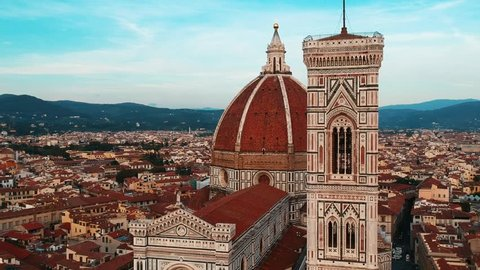 Aerial Drone close up view of the Duomo Florence Cathedral, Florence, Italy