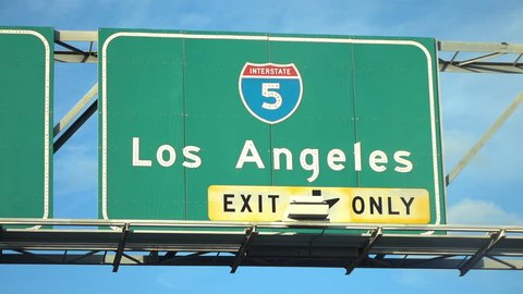 Professional video of Los Angeles Hollywood 5 fwy sign in slow motion 250fps