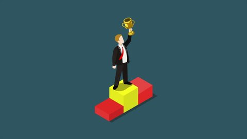 Business trophy rating award winner cartoon flat 3d isometric animated concept. Businessman on first place pedestal rising hand with gold cup  reveal animation 4K video.
