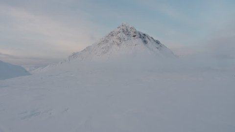 Buachaille Etive Mor in winter - aerial shot at dawn