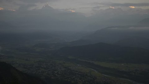 Pokhara Nepal - Himalaya Mountain - Machapuchare Fish Tail Cityscape - Sunrise Time Lapse