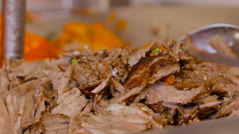 Cook prepares chicken shawarma, slow motion, Turkish food, Arabic food, slow motion