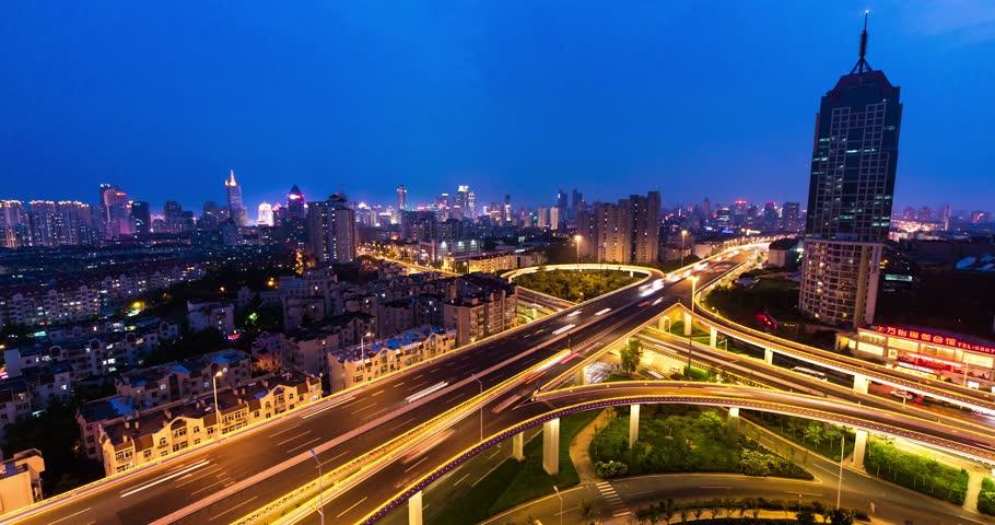 urban city night light traffic street road crossroad junction time lapse