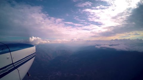 Stabilized footage of an aircraft flying over the Andean Mountains in Venezuela
