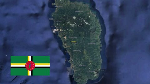 Dominica with flag. 3d earth in space - zoom in Dominica outer, created using ultra high res NASA