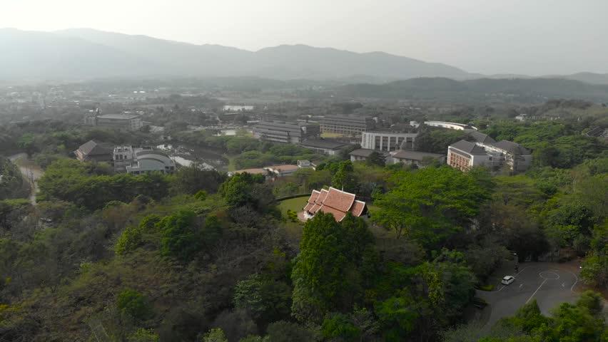 Aerial shot of Thai public temple in Mae Fah Luang University