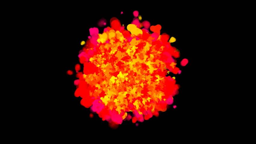 Abstract bright cartoon explosion on black, 3d rendering backdrop, computer generating | Shutterstock HD Video #1009905905