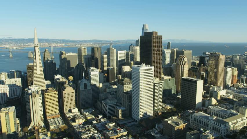 Aerial metropolis city view of downtown Financial district Transamerica Pyramid skyscraper building San Francisco Bay Pacific ocean California America