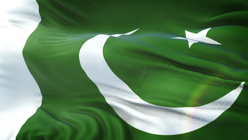 Flag of the Pakistan waving on sun. Seamless loop with highly detailed fabric texture. Loop ready in 4k resolution.