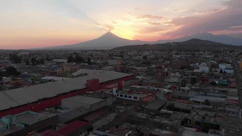 Cholula Puebla Mexico Volcano Cathedral Aerial Footage Popocatapetl