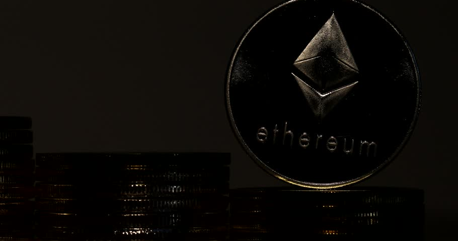 4K Physical metal silver Ethereum currency on white background. New worldwide virtual internet money. Digital Etherum coin cyberspace, cryptocurrency ETH. | Shutterstock HD Video #1009942445
