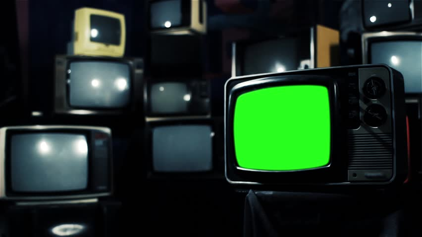 Vintage 80s Tv with Green Screen. Ready to replace green screen with any footage or picture you want. Iron Tone. Zoom In. | Shutterstock HD Video #1009948025