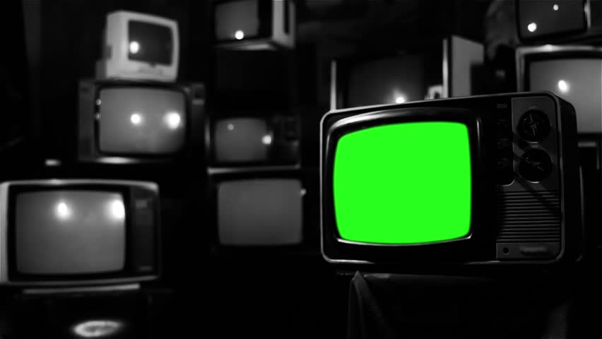 Vintage 80s Tv with Green Screen. Black and White Tone. Zoom In. Ready to replace green screen with any footage or picture you want.  | Shutterstock HD Video #1009948265