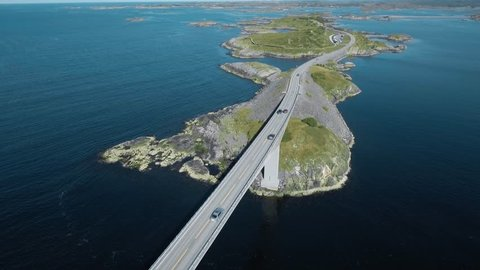 "Aerial view of Atlantic Road (Atlanterhavsveien) also known as ""The Road in the Ocean"" in Norway. National Tourist Route."