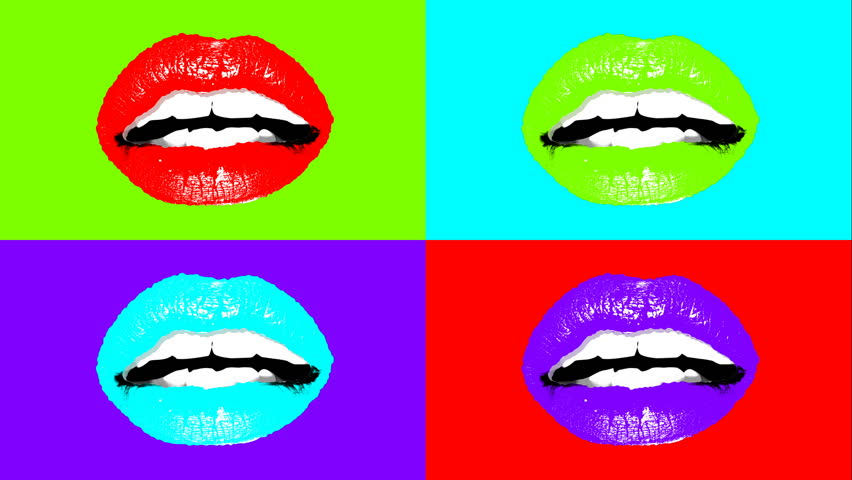 A popular art 3d rendering of sensual young female lips in bright colors. Four pairs of sexy lips shimmer and change colors. It looks like a mixture of arty expression and advertising.