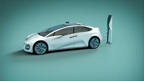 Futuristic electric self driving car charging in charging station. graphics showing charging progress. Green background