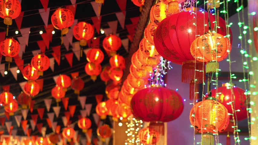 Chinese new year lanterns in chinatown ,blessing text mean have wealth and ha | Shutterstock HD Video #1009983275