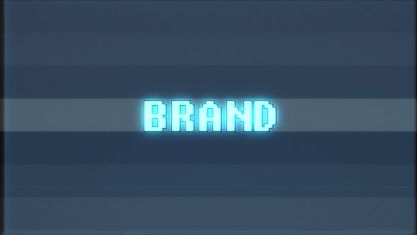 Retro videogame BRAND word text computer old tv glitch interference noise screen animation seamless loop New quality universal vintage motion dynamic animated background colorful joyful video m   Shutterstock HD Video #1010004095