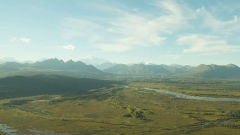 Aerial view of Denali mountain Wilderness pine forest remote Susitna River near Anchorage Northern Alaska USA