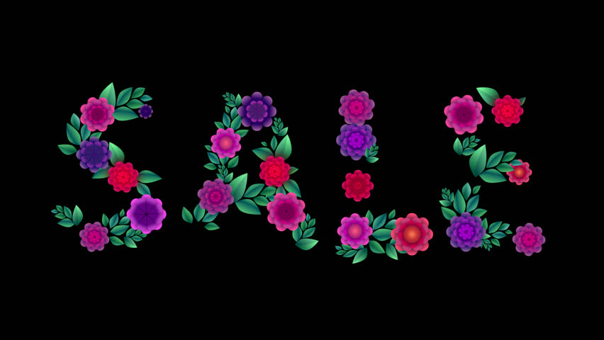 Word sale made of flowers. Animation. Alpha channel. Summer sale   Shutterstock HD Video #1010051525