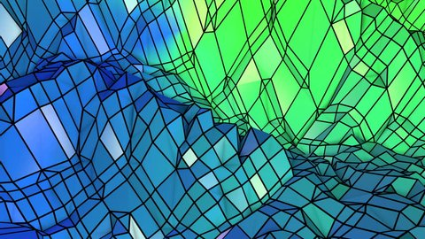 Abstract low poly style looped geometric background. 3d seamless animation in 4k. Modern gradient colors. Low poly blue green surface as cartoon terrain