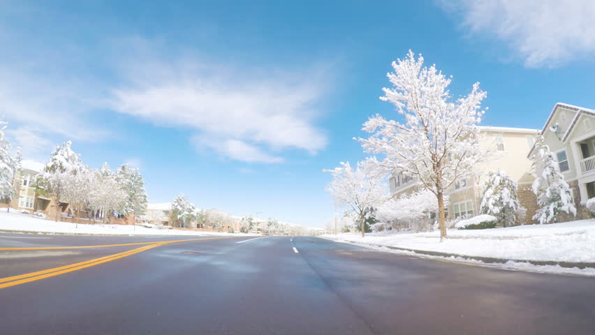 Driving through  business park after the Spring snow storm.
