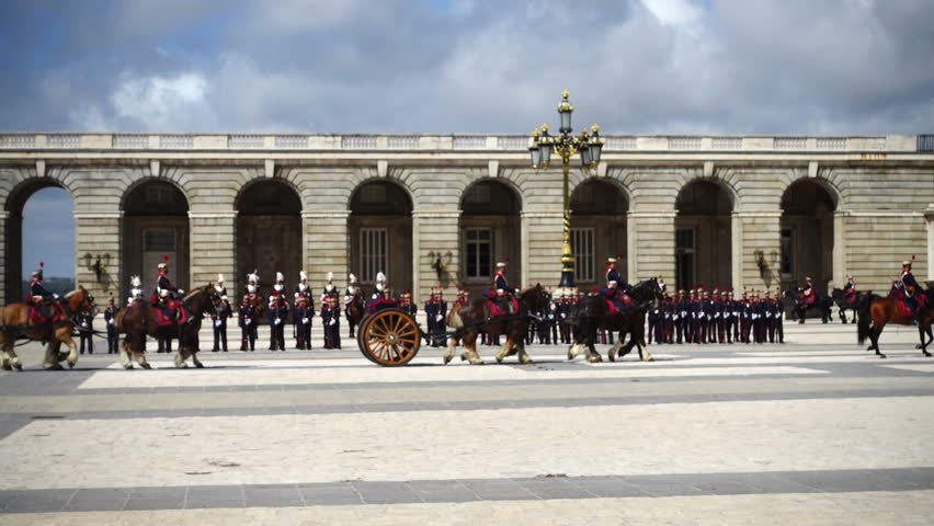 The ceremony of the Solemn Changing of the Guard at the Royal Palace of Madrid, Spain. Out of focus. Slow motion.