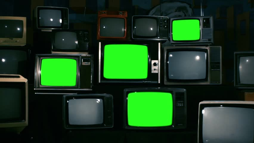 80s Televisions with Green Screens that Turn Off. Zoom Out. Night Tone. Ready to replace green screen with any footage or picture you want.  | Shutterstock HD Video #1010083505