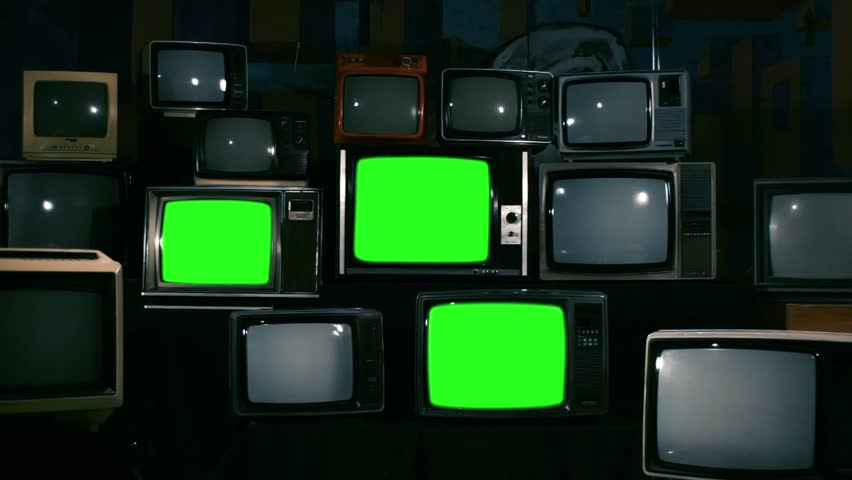 "Four 80s TVs Turning Off Green Screen. Dark Blue Tone. Zoom Out. You can replace Green Screen with any Footage or Picture you Want with ""Keying"" Effect in AE (check out tutorials on YouTube). 