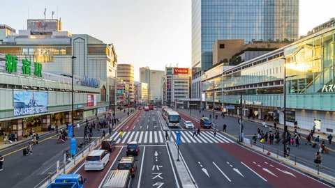 TOKYO, JAPAN - FEBRUARY 17, 2018:Time lapse Sunrise of Shinjuku area around the train station Tokyo City,Japan