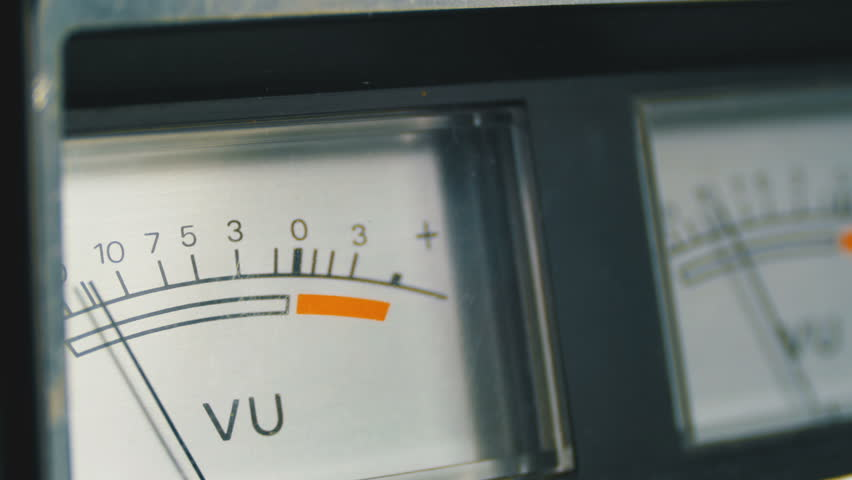 Two Dial Indicators Gauge Signal Level Meter. Analog signal indicator. Dial gauge modes Tape Recorder. Close-up. White of the pointer, black numbers, and arrow. | Shutterstock HD Video #1010096495