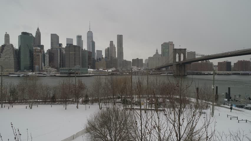 NYC bridge aerial drone footage  winter 4k | Shutterstock HD Video #1010099735