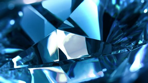 Close-up of slow rotate blue diamond. Loopable, beautiful background. 4K,ultra high definition 2160p