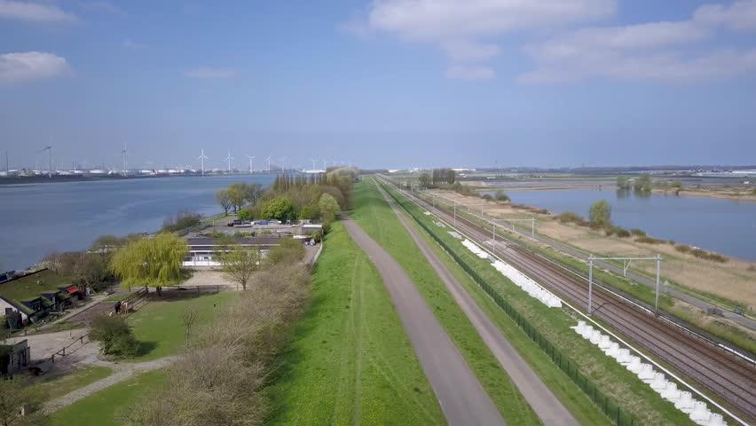 Rotterdam Aerial Train tracks near Europoort and Maasvlakte