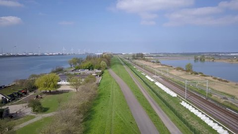 Rotterdam Aerial Train tracks near Europoort and Maasvlakte