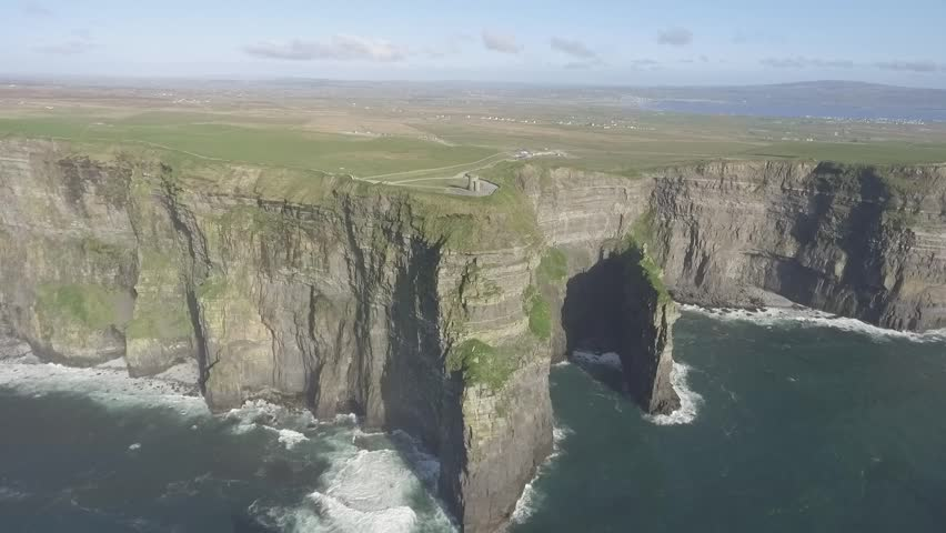 Beautiful Scenic Aerial drone view of Ireland Cliffs Of Moher in County Clare. Sunset over the Cliffs of Moher. Epic Irish rural countryside landscape along the wild atlantic way | Shutterstock HD Video #1010112065