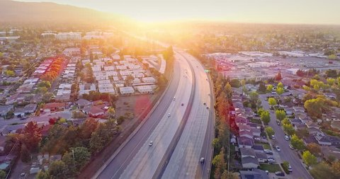Aerial Of freeway 280 in Silicon Valley at sunset. Sunnyvale, USA
