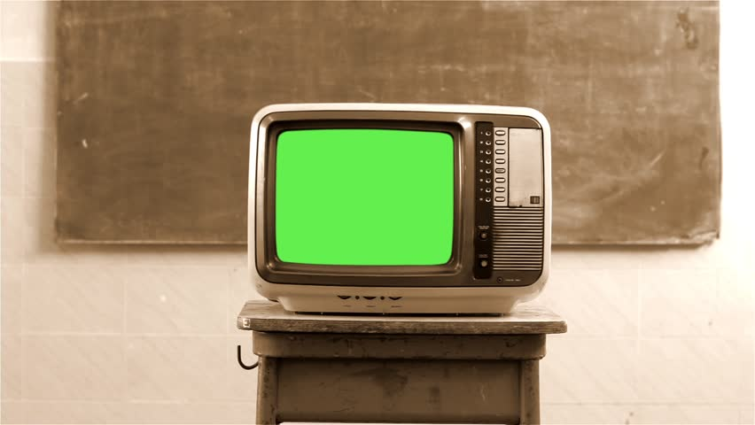 """80s Television with Green Screen in the Classroom. Sepia Tone.  You can replace green screen with the footage or picture you want with """"Keying"""" effect in AE  (check out tutorials on YouTube). 