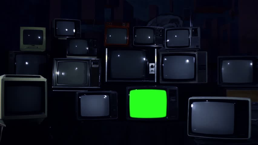 Old 80s Tvs with Green Screens. Night Tone. Ready to Replace Green Screens with any Footage or Picture you Want.  | Shutterstock HD Video #1010226155