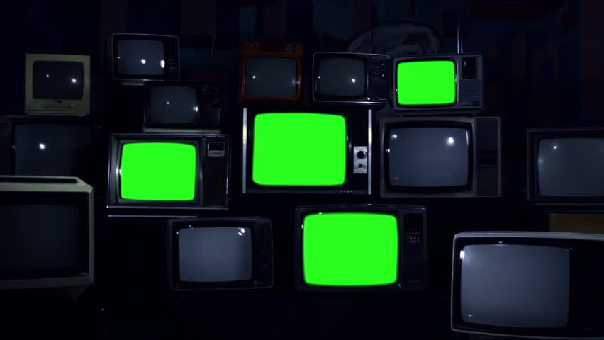 Old 80s Tvs with Green Screens that Turn Off. Night Tone. Zoom Out. Ready to Replace Green Screens with any Footage or Picture you Want.  | Shutterstock HD Video #1010226215