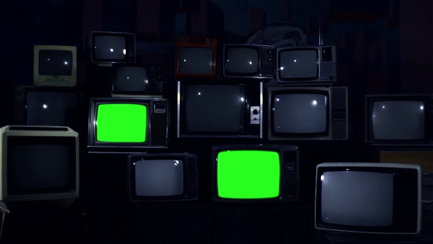 Crazy 80s Tvs with Green Screens Turning On and Off. Night Tone.  | Shutterstock HD Video #1010226305