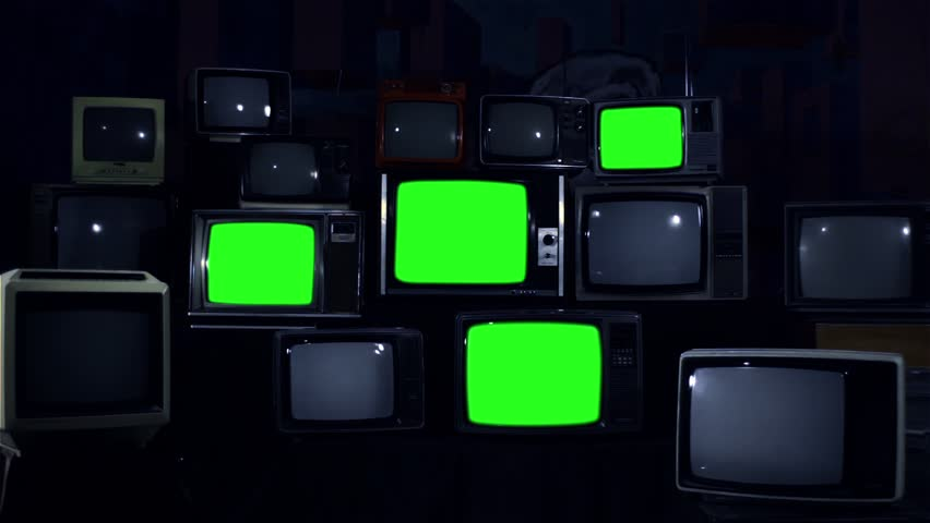 """Four Old TVs Turning on and Off Green Screens. Night Tone. You can replace Green Screens with any Footage or Picture you Want with """"Keying"""" Effect in AE (check out tutorials on YouTube). 