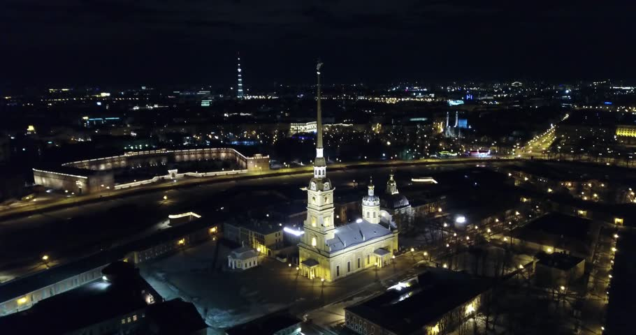 Saint Petersburg night city, helicopter view, areal view, Peter and Paul fortress | Shutterstock HD Video #1010239415